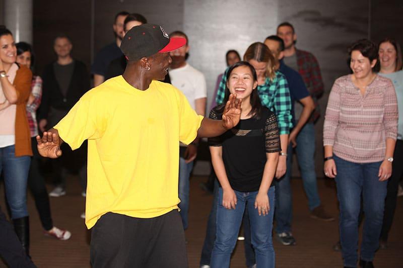 Team building dancing in action