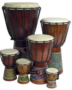 Photo of ethnic drums used in drum circles worldwide