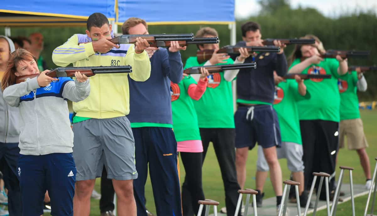 Clay pigeon shooting for teambuilding
