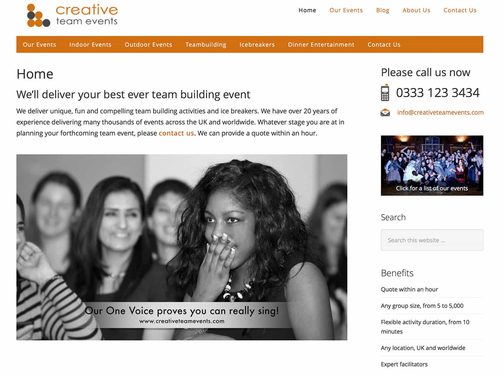 Creative Team Events website