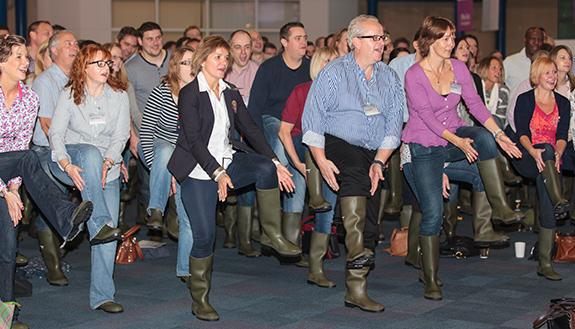 Audience gum boot dancing