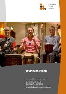 Image of drumming events brochure from Creative Team Events